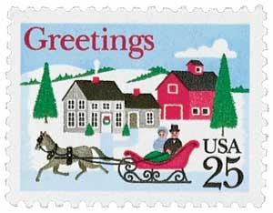 US #2400 1988 Christmas Sleigh and Village