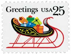 US #2428 1989 Christmas Sleigh and Presents