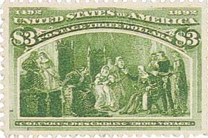 US #243 Columbus Describing Third Voyage