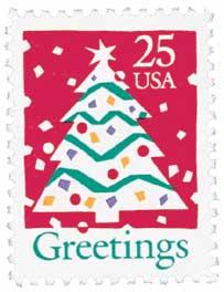 US #2515 and #2516 1990 Christmas Tree