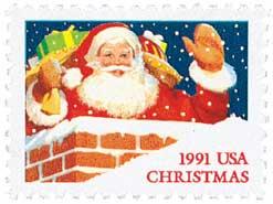 US #2579 and #2580 1991 Santa in Chimney