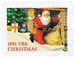 US #2584 1991 Santa and Fireplace