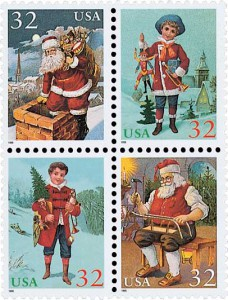 US #3004-07 and #3008-11 1995 Contemporary Christmas