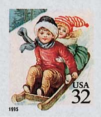 US #3013 1995 Children Sledding