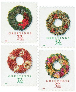 US #3245-48 and #3249-52 1998 Christmas Wreathes