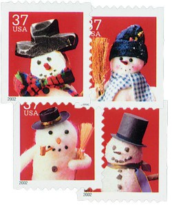 US #3680-83 2001 Snowmen