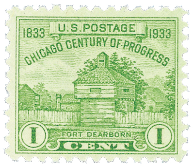 U.S. #728 – Restoration of Fort Dearborn stamp issued for the fair.