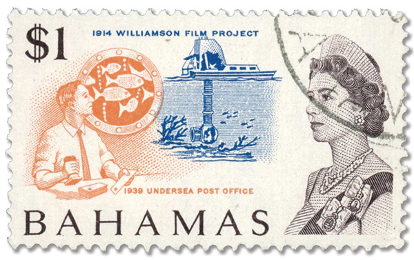 1967 Bahamas stamp picturing the photosphere and underwater post office.