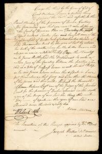 "1766 1sh ""America"" British Revenue Impression on Handwritten Juror Summons, executed at Quebec, Canada"