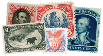 An assortment of 5 stamps next to each other