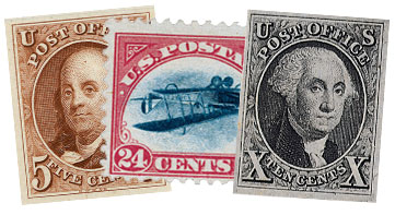 A photo of three stamps sitting next to each other.